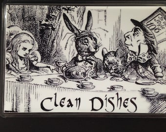 "Alice in Wonderland Reversible Dishwasher Magnet | Geek Kitchen | Clean Dirty  Magnet | ""Clean"" ""Dirty"" Alice 