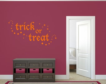 Trick or Treat Decal Halloween Quote Vinyl Wall Sticker