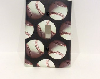 Baseball Light Switch Cover, Baseball Light Switchplate, Baseball Sports Decor, Baseball Nursery Decor