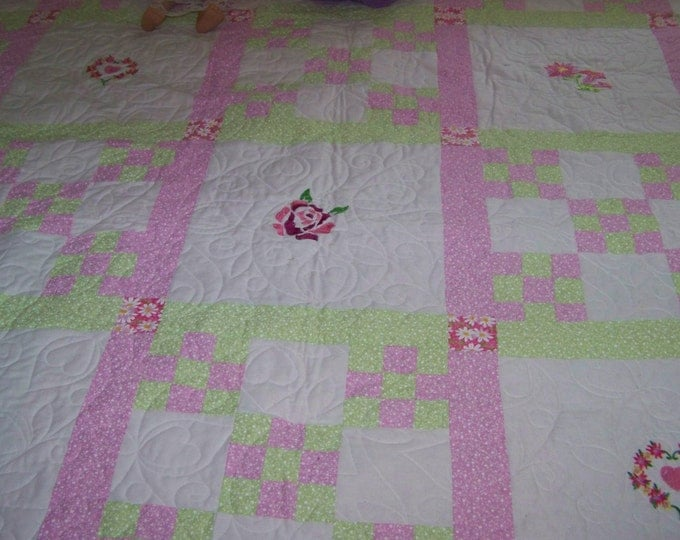 Handmade Quilt Embroidered and pieced, Flower embroidered quilt,Pink and Green quilt, Twin,Full Queen,King quilt