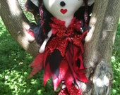Red-Black-Handmade-OOAK-Fairy Doll-Cloth Doll-Collectable Doll -Flower Doll-Poppy