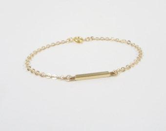 Tiny Gold Bar Bracelet - Simple everyday jewelry - dainty bracelet - Bar Bracelet