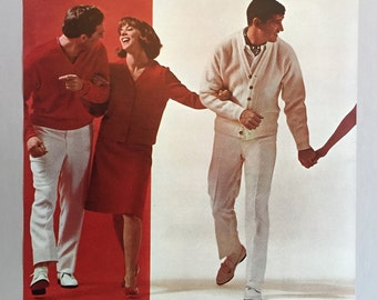 1965 Fashion Print Sheets 2 Pages with mid-1960's Men's and Women's Clothing Styles