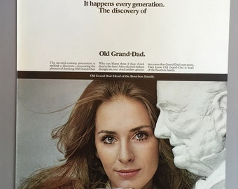 """1968 Old Grand-Dad Bourbon Print Ad - """"The up-and-coming generation..."""""""