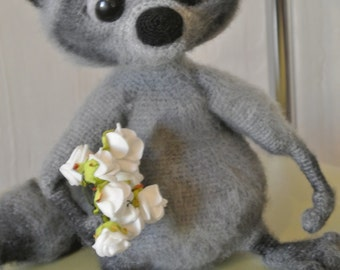 Raccoon gray. Toy handmade. Amigurumi. Gift for children.