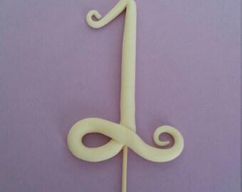 Fondant Swirl Whimsical Numbers Cake Topper