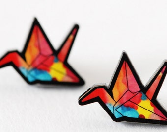 Watercolour Crane Studs