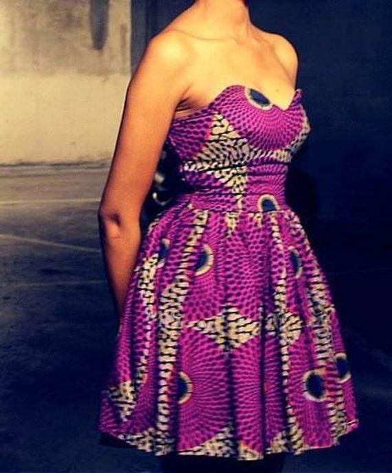 African Print Strapless Dress