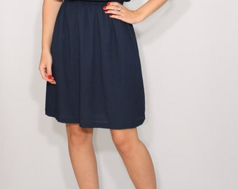Navy bridesmaid dress Short navy dress Chiffon dress Party dress