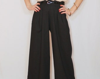Wide leg linen pants Black pants with pockets High waist pants