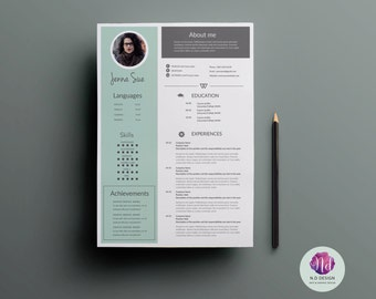 1 Page Resume Template ,cover Letter Template , Reference Letter Template (  Minted Green U0026