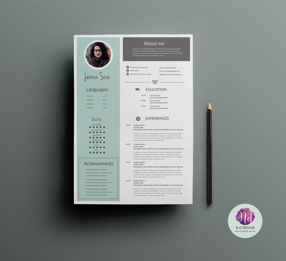 1 page resume template cover letter template reference letter template minted green grey theme 1 page cv template creative cv