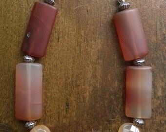 Carnelian and Sterling Silver Bracelet, Handmade by Emergent Jewel