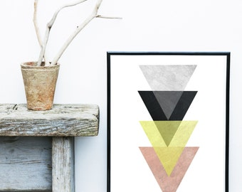 Affiche Scandinave, Geometric Wall print, Triangle Print, Printable Art, Geometric Art print, Geometric Art, Minimalist Art, Art Poster