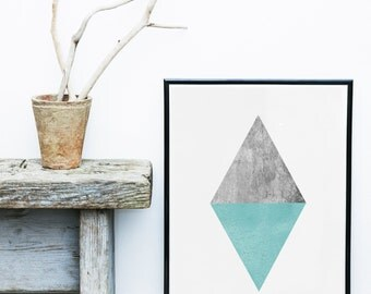 Abstract Art Print, Printable Art, Triangle Print, Diamond, Scandinavian Design, Geometric Art, Minimalist Art, Abstract Wall Art