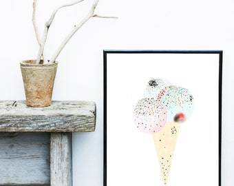 Ice Cream Print, Scandinavian Nursery, Printable Art, Nursery Wall Art, Wall Decor, Instant Download, Wall Prints