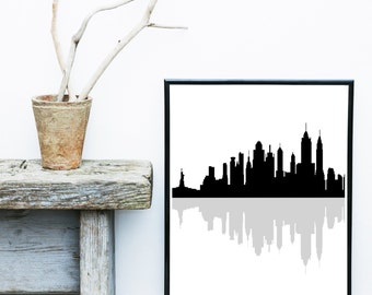 New York Print, Cityscape, Printable Art, New York Silhouette, City skyline,   Wall Decor, Wall Art, Instant Download