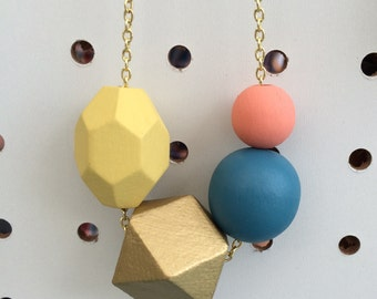 geometric wooden bead necklace