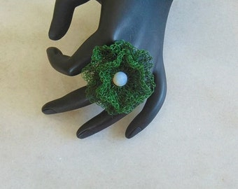 Wire crochet ring, wire crochet jewelry, wire crochet, crocheted jewelry, Opal ring, floral ring, jewelry florist, green ring, flower ring