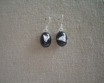 Earrings, Black and Silver Drop Earrings, Handmade Jewellery, Fused Glass Earrings, Fused Glass Jewellery, Unique, Fashion Jewellery, Modern