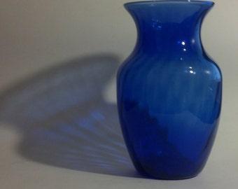 Cobalt Blue Glass Vase - Swirl Design