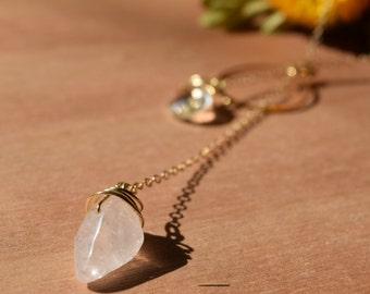 Quartz and Crystal Lariat Necklace