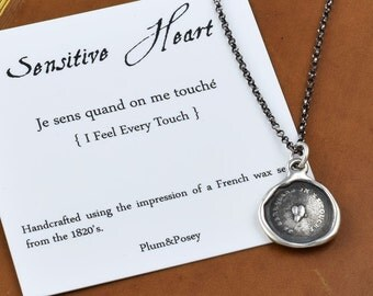 Sensitive Heart Wax Seal Necklace - I feel every touch - 102