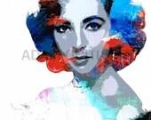 Elizabeth Taylor printable download poster hollywood glam famous movie star print download pop art