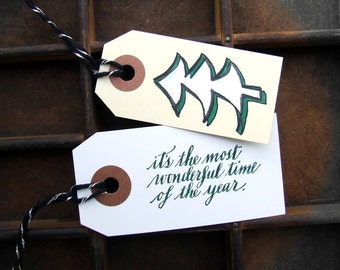 "Hand Lettered Holiday Stamp, Handwritten Calligraphy, Rubber Stamp ""it's the most wonderful time of the year"" Christmas Stamp"