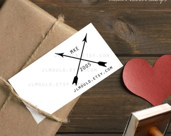 0386 JLMould Modern Crossed Arrows Custom Business Card Logo Add your City Date and website Totally Customization