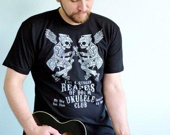 Ukulele Shirt, Ukulele Tshirt, Skull Shirt, Ukulele Gift, Music Tee, Mens Graphic Tee - The 4-Stringed Reapers of Doom Ukulele Club Tshirt