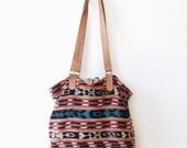 Ikat Leather Bucket Bag - guatamalan, textile, tote