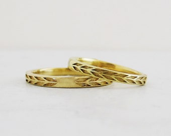 Very Narrow Arrow Gold Wedding Band Set | Hers and Hers wedding rings | Recycled Gold Wedding ring set 14k 18k yellow