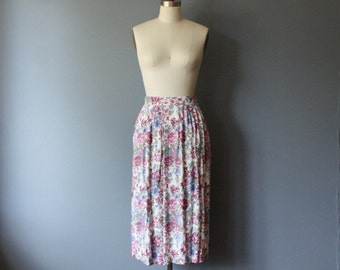 vintage floral revival skirt 90s / high waisted pleated skirt / S-M