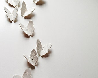 3D Butterfly wall art Large wall art set 21 White porcelain handmade ceramic & silver copper or gold butterflies Unique original big art