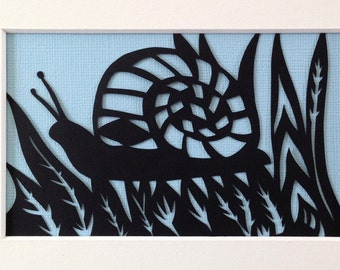 Black Snail Silhouette on Sky Blue Background, handmade papercut, wall art, nursery art