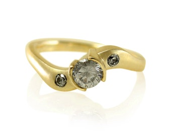 Twist Shank Moissanite Bezel Engagement Ring with Ethical Diamonds, in 14k Yellow Gold or 18k Yellow Gold, Ethical Engagement Ring
