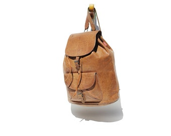 Vintage BREE Natural Cork Brown Leather Backpack