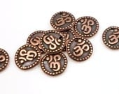 Om Charms - Antique Copper Charms - TierraCast Om Coin Drop - Yoga Charms - Buddhist Zen Meditation Charms (P689)