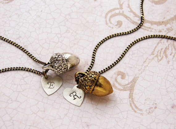 Personalized necklace, acorn necklace, bridesmaid jewelry, acorn initial necklace, heart jewelry, personalized jewelry gift for her