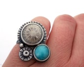 Fossilized Coral, Amazonite, and Sterling Silver Ring, Seaside Collection, Oxidized Silver Statement Ring Size 7, Metalsmith Jewelry