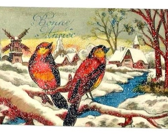 Vintage - BIRDS, SNOWY LANDSCAPE -Windmill -Village- in relief -French Designed,signed colorful Postcard, years 1950-written- Good Condition