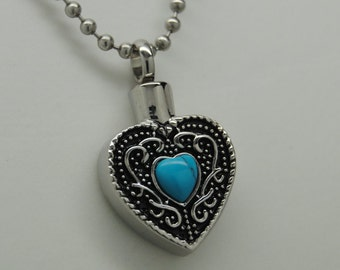 Turquoise Heart CREMATION JEWELRY Engravable Turquoise Urn Necklace Memorial Keepsake Pendant Urn
