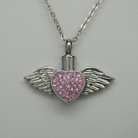 Angel Wing Urn Necklace: Wing CREMATION Jewelry Pink Cz Heart With By