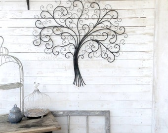 Metal Tree Wall Decor, Iron Tree, Large Wall Decoration, Country Home, Metal Wall Decor, Hotel Decor
