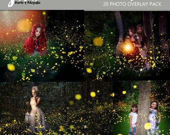 Fireflies Photoshop Overlays, photoshop overlay, fireflies overlay,  nature, scattered lights, Photography pack