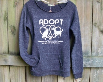 Cat sweater, womens sweatshirt, Animal Rescue, ADOPT, gift for wife, cat shirt, dog shirt, sweater gift, off the shoulder sweater, yoga