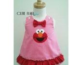 Elmo Dress, and Matching Headband, Sesame Street Elmo Dress, Elmo Birthday Dress, Elmo A line Dress, Elmo Baby, Elmo Pink Dress, Size 6-12M