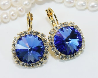 Royal Blue Earrings Royal Blue Gold Swarovski Crystal Earrings Clear Sapphire Blue Drop Royal Blue Wedding 14mm Halo Gold,Sapphire,GE110