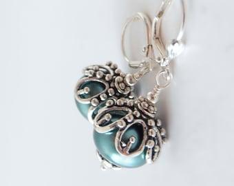 Teal Pearl Earrings, Bridesmaid Jewelry, Teal Wedding Jewelry, Matching Sets, Jade Green Bridesmaid Earrings, Chunky Dangles, Handmade